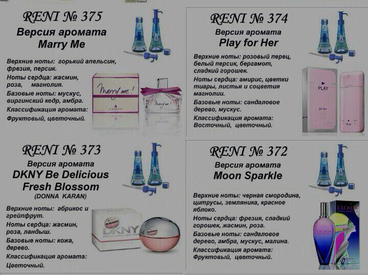 Рени парфюм каталог в картинках