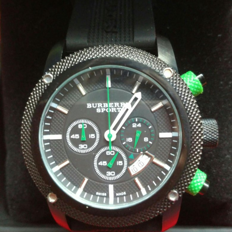 Burberry спорт выносливость мужской хронограф каучуковый ремешок премиум часы.