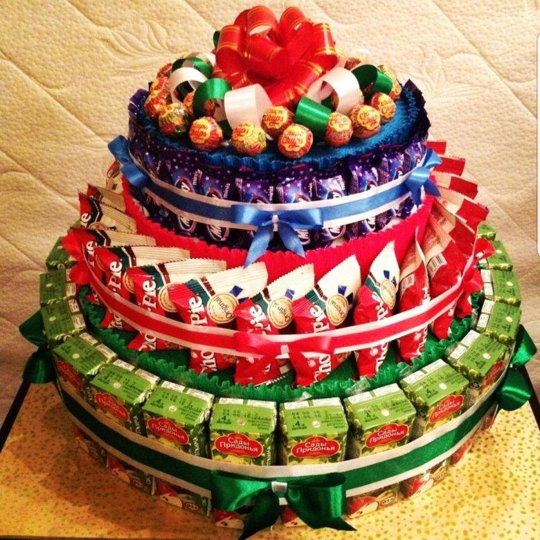 же, большой торт из конфет своими руками пошаговые фото чтобы