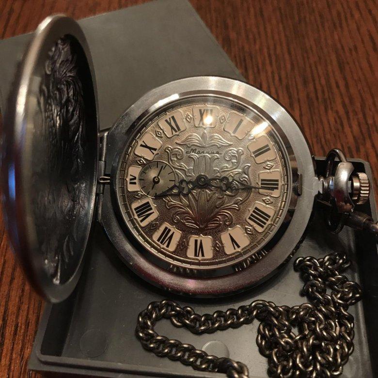 Карманные часы «молния» — серебро (римские цифры).