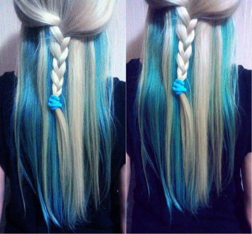 Синее мелирование на русые волосы