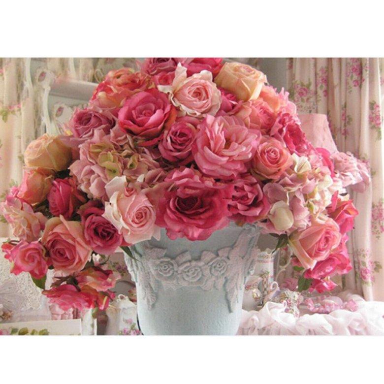 Открытка с пионами и розами на день рождения