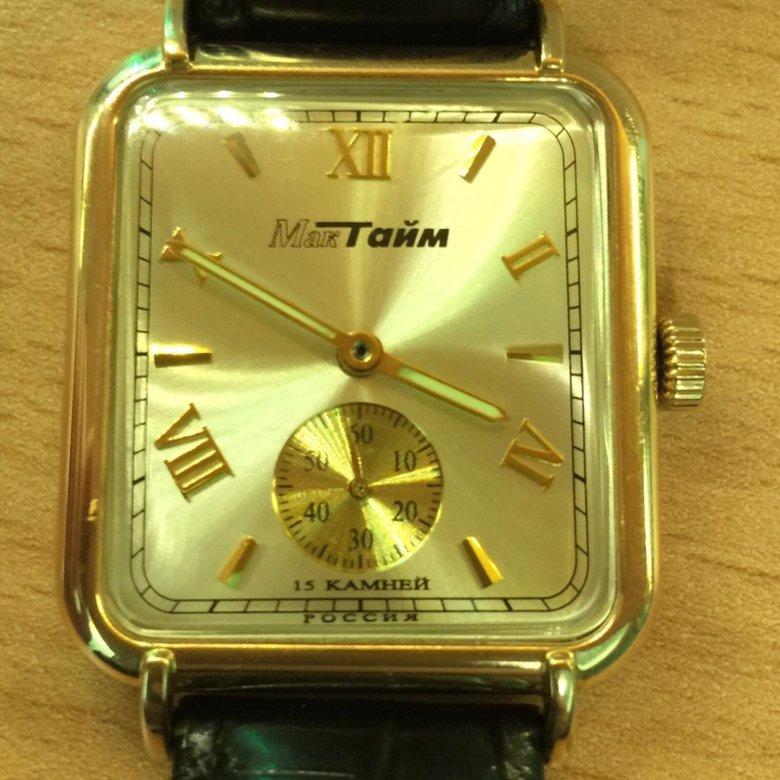 Мужские часы МакТайм 15 камней. Золото 585 пробы