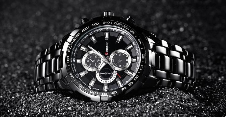 56101aa0 Кварцевые мужские часы curren 8023 Black – купить в Омске, цена 900 руб.,  продано 31 мая 2018 – Аксессуары