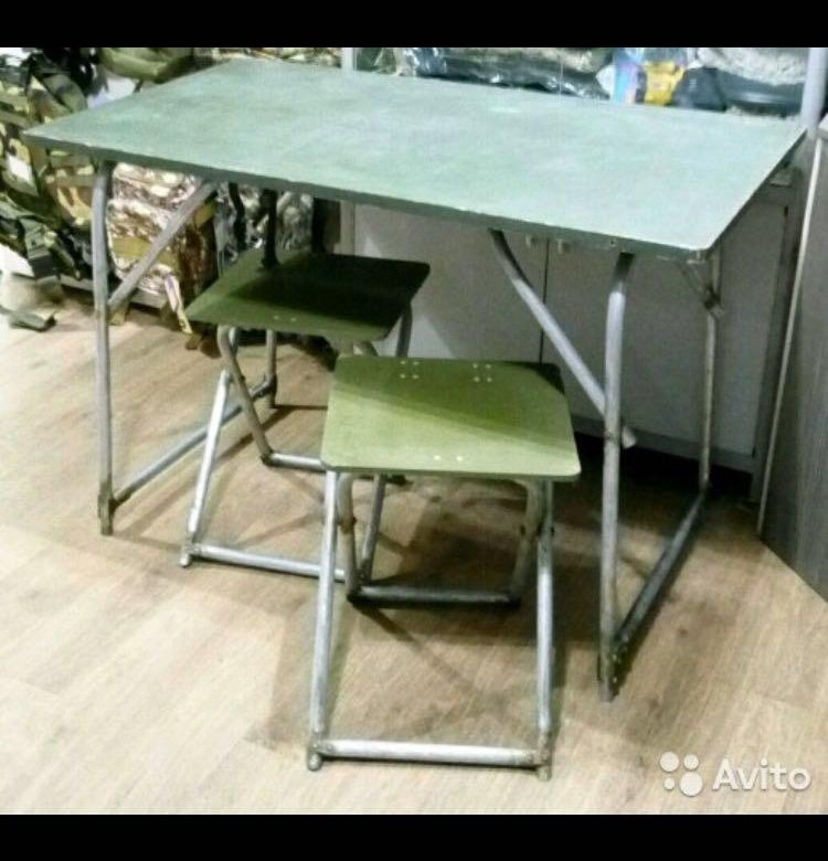 стол и стулья армейский полевой фото позже