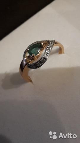 Золотое кольцо с изумрудом и бриллиантами – купить в Москве, цена 20 ... e0400b91f85