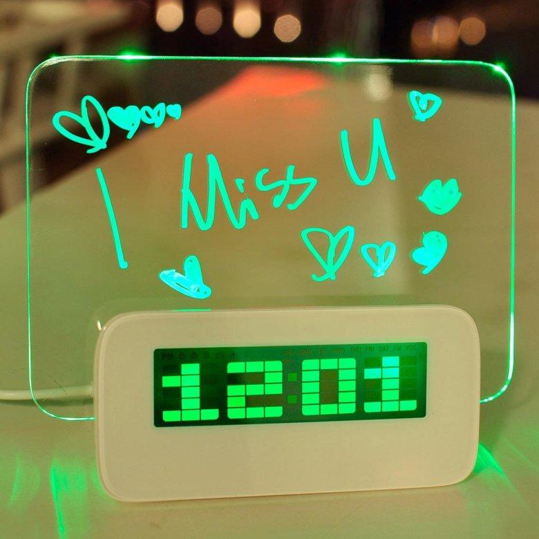 Часы будильник со светящейся доской для записей прослушать звук будильника