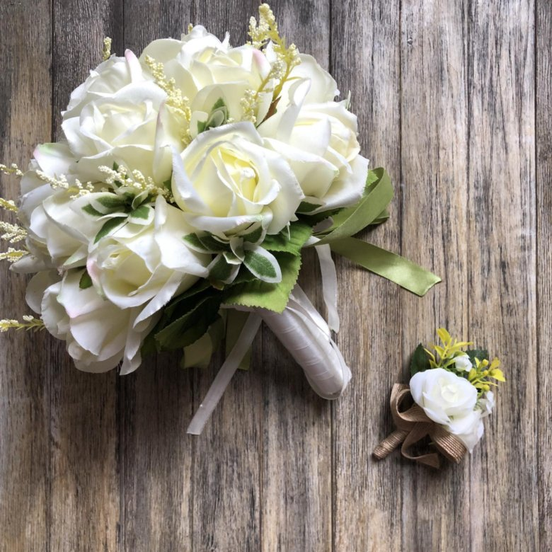 Букет невесты с бутоньеркой