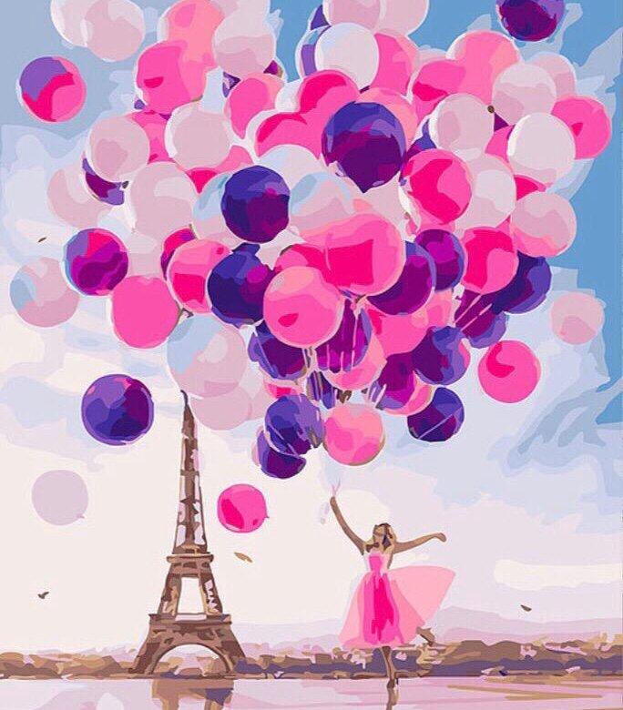 Картинка с воздушными шарами и цветами