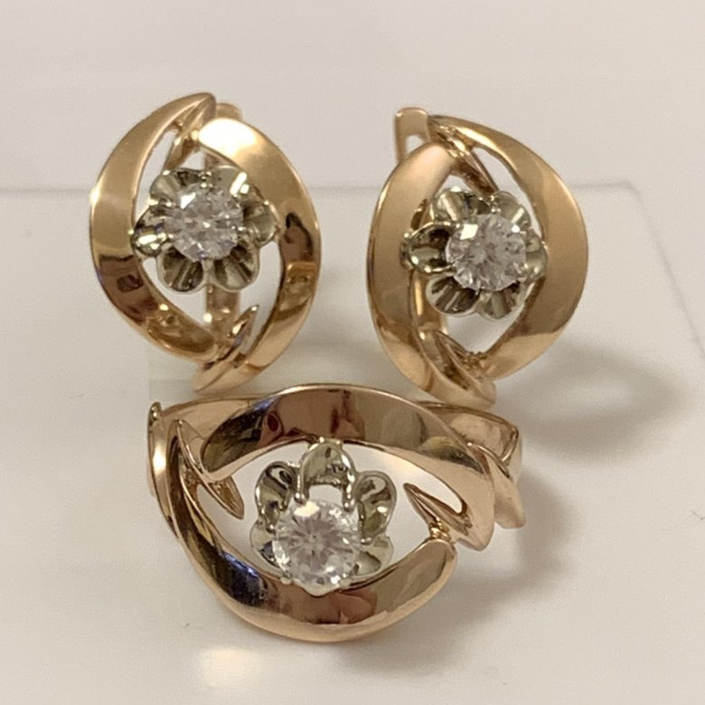 комплект серьги и кольцо из золота фото выглядеть