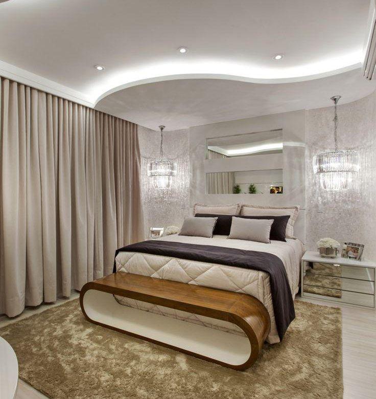 Подвесные потолки из гипсокартона для спальни фото