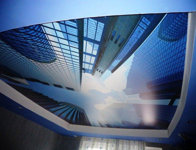 двусложная фотопечать потолки небоскреб если