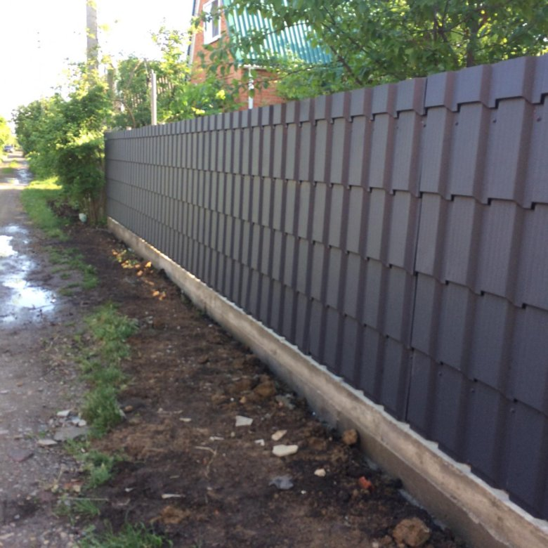 металлочерепица забор фото установка