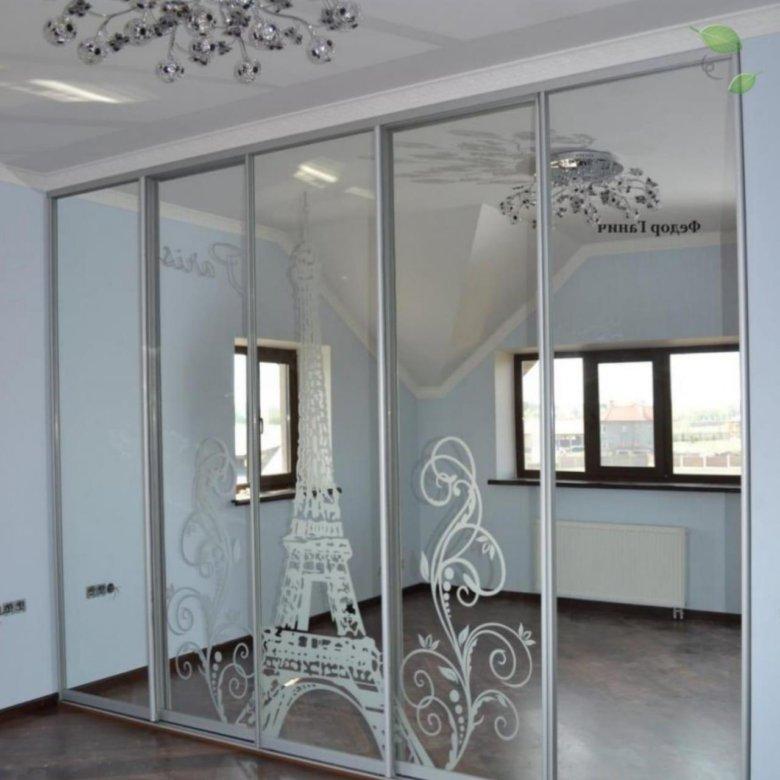 Встроенный шкаф зеркальный фото с рисунком