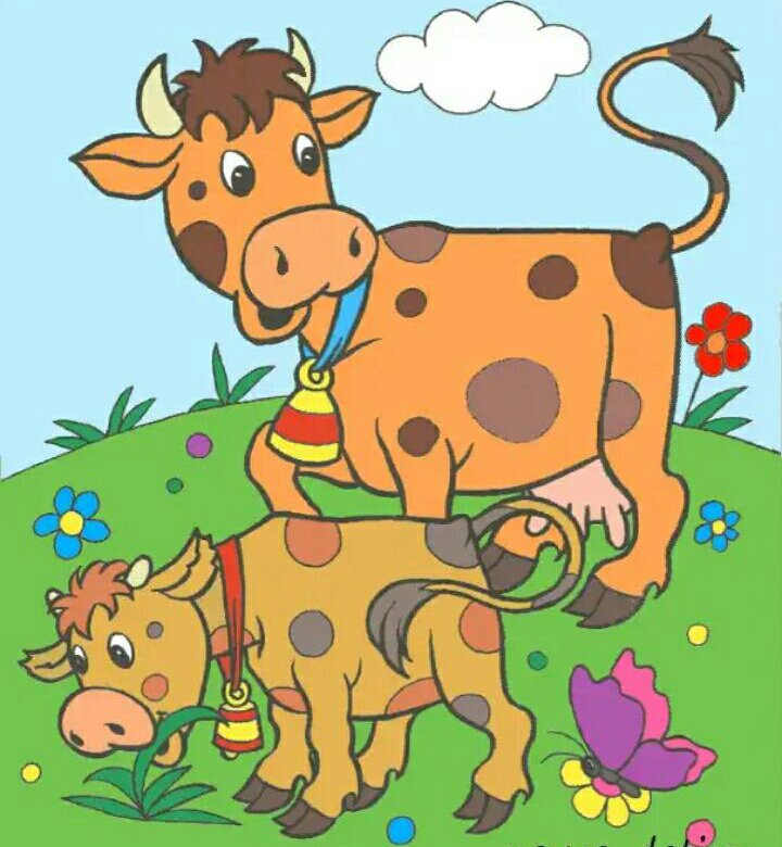 Картинки корова с теленком для детского сада, удачи игре