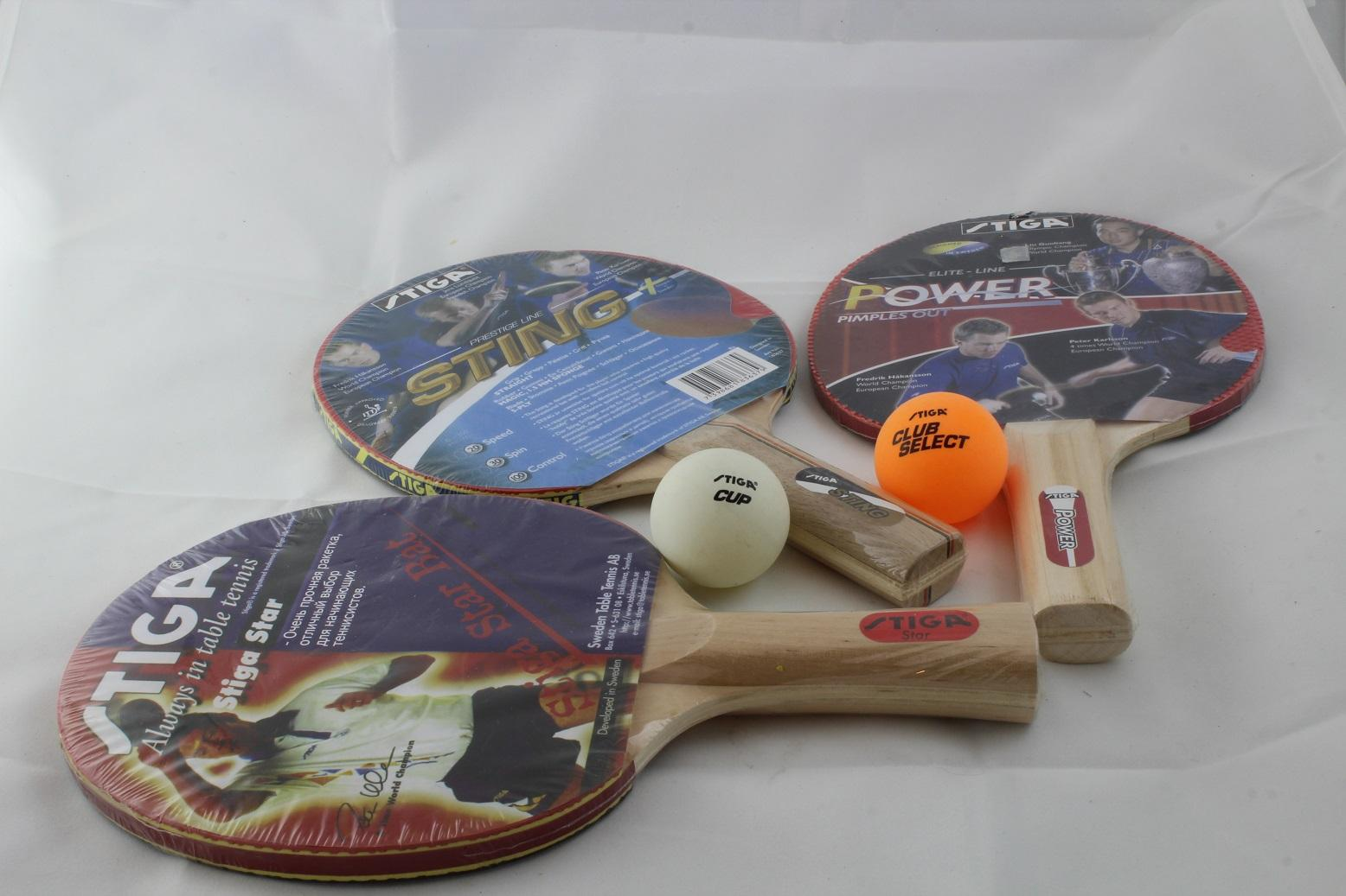 Rackets and balls for table tennis in the Village Finder