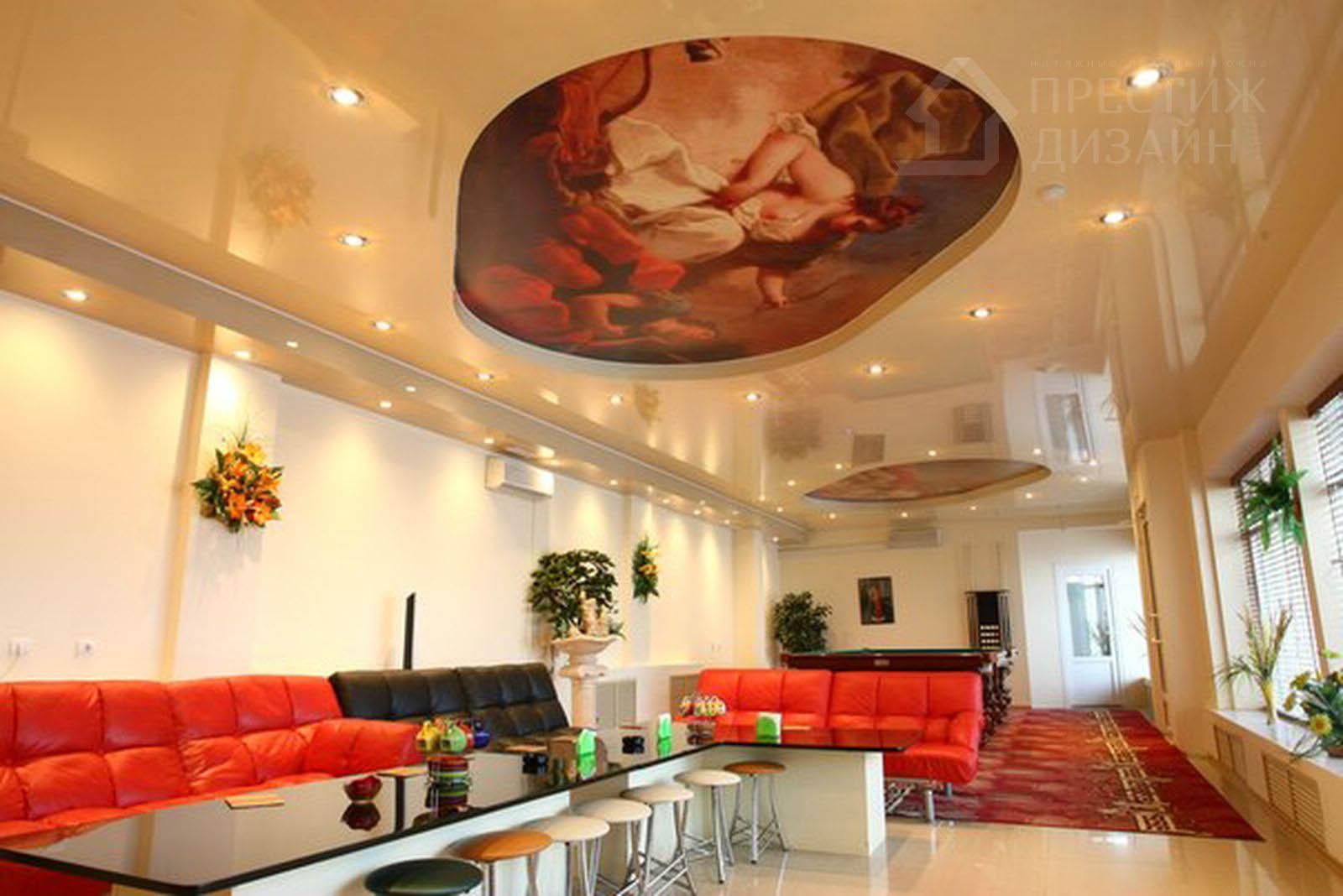 Натяжной потолок со знаками зодиака фото блик