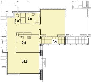 Квартира, 2 комнаты, 69.59 м²